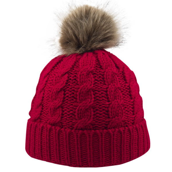 1764bfb6e7a Cable Knit Beanie With Faux Fur Pom